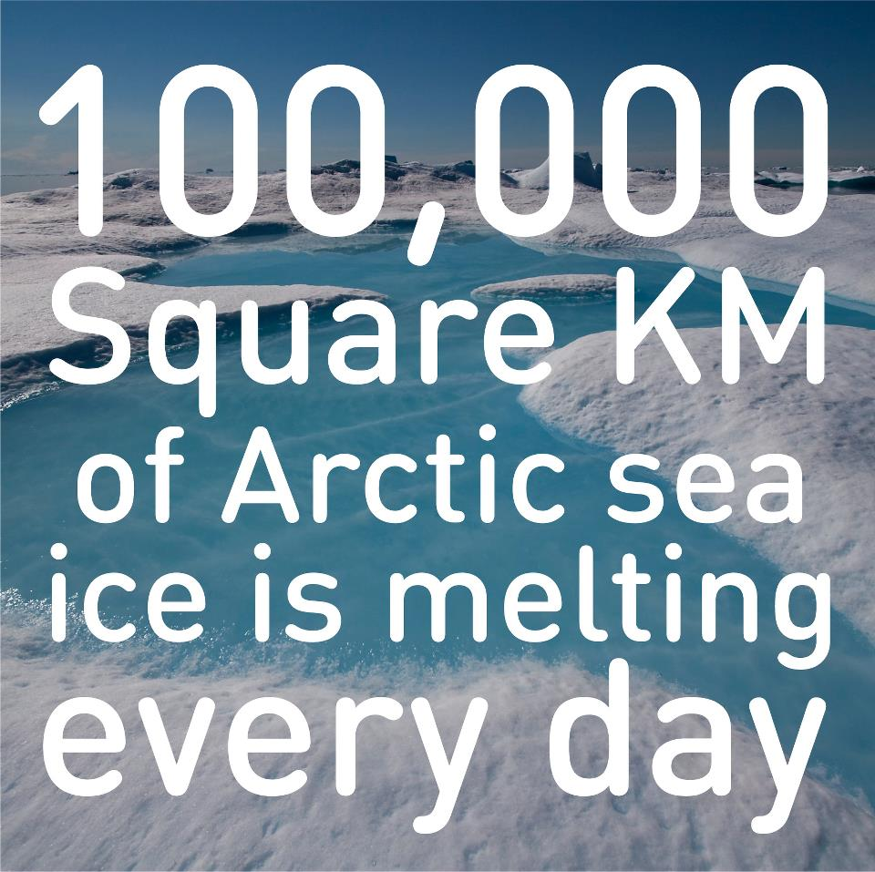 100,000 km arctic ice melting