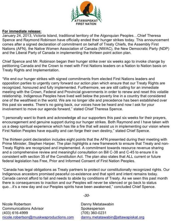 press release.Jan24.2013.Chief Spence