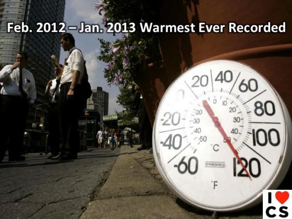 jan 2012 to jan 2013 warmest ever