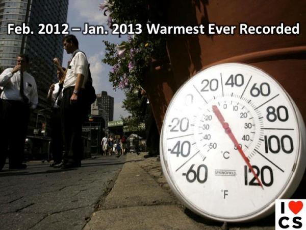 jan 2012 to jan 2013 warmest ever