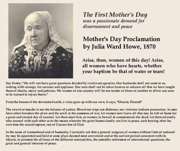 mother's day. julia ward howe