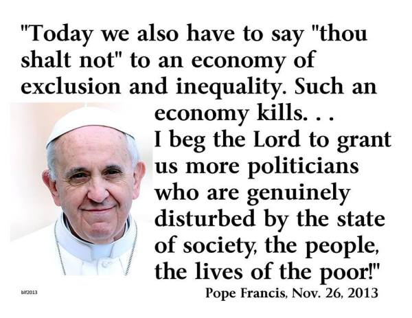 Pope Francis rocks on the economy