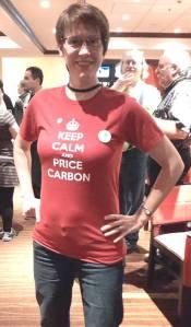 CCL Toronto leader Cheryl McNamara models the T-shirt with CCL's message